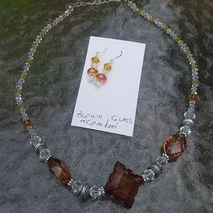 Jewelry - Brown/clear cracked glass necklace/earring set